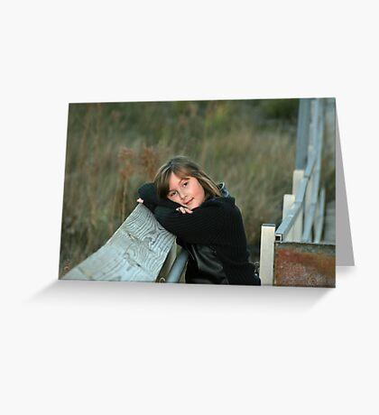 anja on the bridge Greeting Card