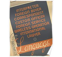 WPA United States Government Work Project Administration Poster 0961 Occupations Related to Languages Poster
