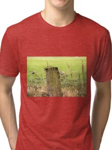 Electric Fence Post in Pasture Green Tri-blend T-Shirt