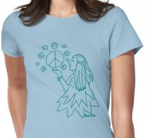 RETRO PEACE-Hippie with Peace Sign Womens Fitted T-Shirt