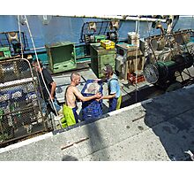 fishing boat, unloading catch Photographic Print