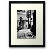 A girl and a man - Alone in Singapore Framed Print