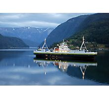 Fjord ferry by night Photographic Print