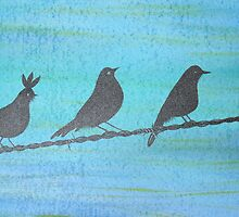 Birds On Wire-Painting by Denise Martin