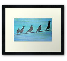 Birds On Wire-Painting Framed Print