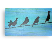 Birds On Wire-Painting Canvas Print