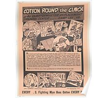 United States Department of Agriculture Poster 0158 Round the Clock Every Fighting Man Uses Cotton Every Day Poster