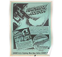 United States Department of Agriculture Poster 0150 Fire Proof Cotton Every Fighting Man Uses Cotton Every Day Poster