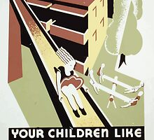 WPA United States Government Work Project Administration Poster 0295 Your Children Like these Low Rent Homes by wetdryvac