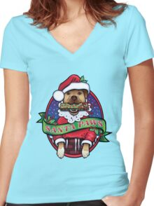 Santa Paws Women's Fitted V-Neck T-Shirt