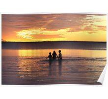 Sunset kids, Coral Bay, WA Poster