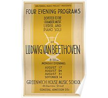 WPA United States Government Work Project Administration Poster 0667 Four Evening Programs Ludwig Van Beethoven Greenwich House Music School Poster
