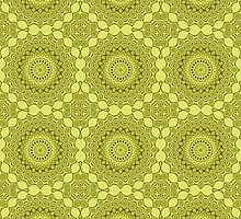Shades of Green Kaleidoscope Flowers Design by Mercury McCutcheon