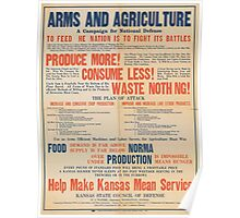 United States Department of Agriculture Poster 0057 Arms and Agriculture Produce More Consume Less Waste Nothing Poster
