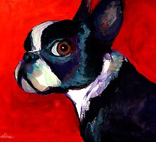 Boston Terrier Portrait 2 painting Svetlana Novikova by Svetlana  Novikova