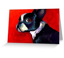 Boston Terrier Portrait 2 painting Svetlana Novikova Greeting Card