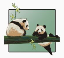 two pandas on a branch One Piece - Long Sleeve