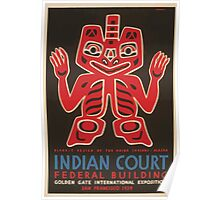 WPA United States Government Work Project Administration Poster 1036 Blanket Design of the Haida Indians Alaska Indian Court Federal Building Poster