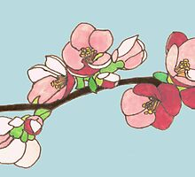 Pink on Blue Blossoms by Erin Nicholls