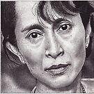 Aung San Suu Kyi, Ink Drawing by RIYAZ POCKETWALA