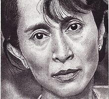 Aung San Suu Kyi, Ink Drawing by RIYAZ POCKETWALA