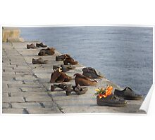 Shoes on the Danube river bank Poster