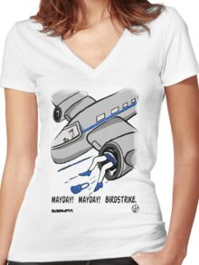 A Plane Accident. Women's Fitted V-Neck T-Shirt