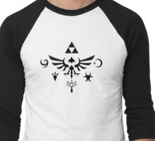 Hylian Symbols - Black Men's Baseball ¾ T-Shirt