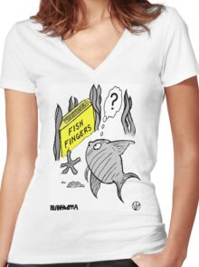 Fish Fingers ? Women's Fitted V-Neck T-Shirt