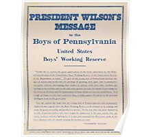 United States Department of Agriculture Poster 0263 President Wilson's MEssage Boys of Pennsylvania Poster