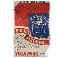WPA United States Government Work Project Administration Poster 0528 Page County Centennial Police Firemen Exhibition Villa Park Poster