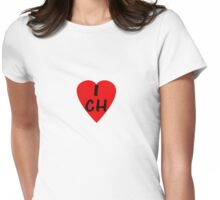 I Love Switzerland - Country Code CH T-Shirt & Sticker Womens Fitted T-Shirt