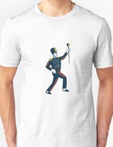Drum Major Marching Band Leader Woodcut T-Shirt