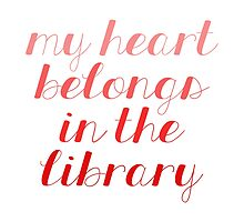 My Heart Belongs in the Library - Red by bboutique
