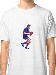 Rugby Player Running Passing Ball Retro Classic T-Shirt