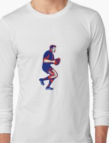 Rugby Player Running Passing Ball Retro Long Sleeve T-Shirt
