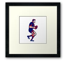 Rugby Player Running Passing Ball Retro Framed Print