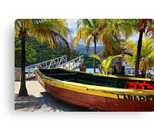 Old Wooden Boat, Labadee Haiti Canvas Print
