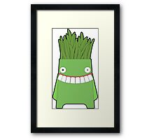 funny green character Framed Print