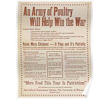 United States Department of Agriculture Poster 0285 An Army of Poutry Will Help Win The War More Food This Year Is Patriotism Poster