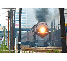 N&W #611 Departing Roanoke - Past Old East End Shops Photographic Print