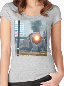 N&W #611 Departing Roanoke - Past Old East End Shops Women's Fitted Scoop T-Shirt