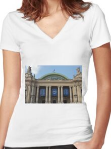 Le Grand Palais - Main Entrance © Women's Fitted V-Neck T-Shirt