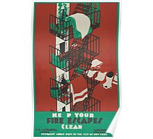 WPA United States Government Work Project Administration Poster 0003 Keep Your Fire Escapes Clear Poster