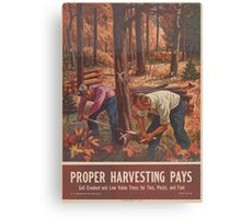United States Department of Agriculture Poster 0162 Proper Harvesting Pays Sell Crooked Low Value Trees for Ties Posts Fuel Canvas Print