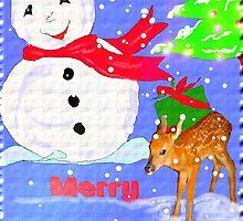 Christmas Card,Snowman,Deer,Tree by MaeBelle