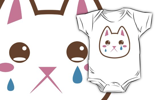 """Super cute Chibi Kawaii kitten SAD :("" Kids Clothes by ..."