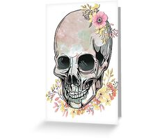Watercolor Skull looking down at flowers Greeting Card