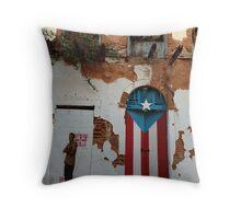 Old San Juan door Throw Pillow