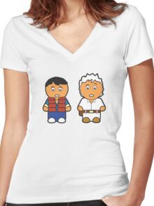 Marti and Doc Brown Women's Fitted V-Neck T-Shirt